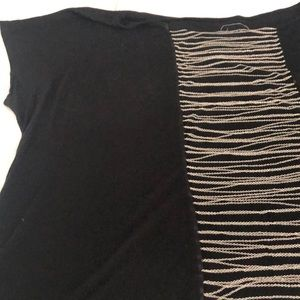 Plus size 3X INC black t shirt  chain detailed